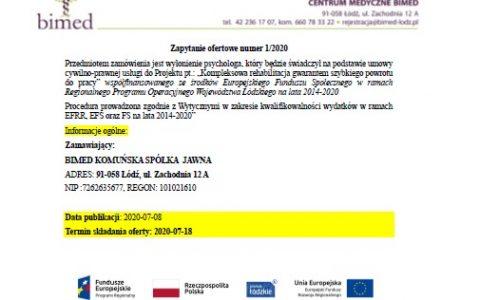 Zapytanie ofertowe numer 1 /2020 z Dnia 8.07.2020r